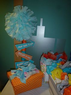Horton Hears a Who baby shower. A sign we made and placed on the gift table.