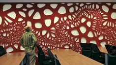 Laser cut acoustic foam.  See, sound dampening can be decorative too...