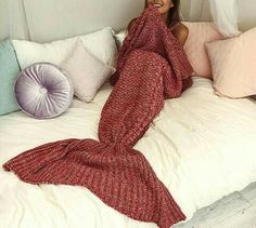 Fashion Uk Womens Ladies Knitted Mermaid Fishtail Lapghan Cocoon Warm Cozy Blank Fragrant Aroma Bedding Home & Garden