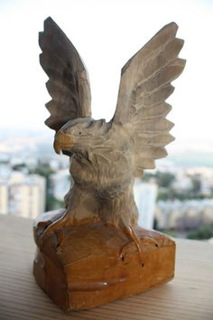 """Soviet USSR Russian Vintage Wooden Statue Figurine Eagle 8"""" Collectible Home Dec"""
