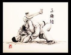Sankaku-jime, acrylique 33 X 40. #judo #sankakujime #trianglechoques #bjj