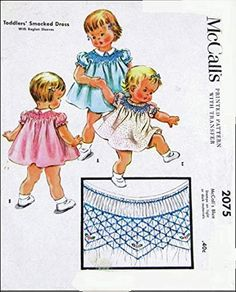 McCall's 2075 Toddler Girl's Smocked Dress with Raglan Sleeves, Transfer, Vintage 50's Sewing Pattern Check Listings ... Sewing Patterns For Kids, Mccalls Sewing Patterns, Smocking Patterns, Cute Kids, Cute Babies, How To Make Clothes, Jacket Pattern, Fabric Material, Vintage Patterns