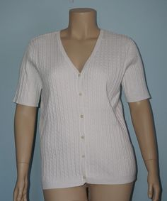 Chaps NWT 2x White Cableknit Short Sleeve V-Neck Sweater Button Up Cardigan Top #Chaps #Cardigan