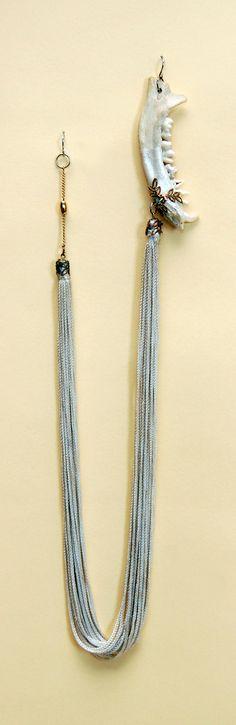Fox Jaw Bone Silk Fringe Joined Earrings W/Filligre Embellishment on Etsy, $68.00