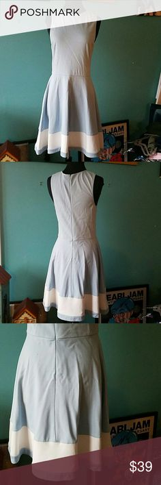 🎉NWT🎉Love....Ady Dress Powder blue, fitted top, swing skirt with white horizontal stripe at hem. Hidden Back zip.  Nice knit (rayon/nylon/spandex). Made in USA. Love...Ady  Dresses