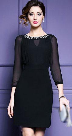 Elegant O-Neck Long Sleeve Beaded Bodycon Dress