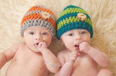Handmade Striped Beanie Newborn Baby Hat by AuntieRuthsBoutique
