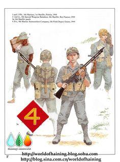U.S.M.C. PACIFIC MARINES PELELIU & GUAM 1944 - 1 e 2 5th Marines, 4th MARINES DIVISION, Pelielu, 1944 - 3 Second Lieutenant, 4th Special Weapon Battalion, 4th Marines, Roi Namur 1944 - 3a 4th Marines Division Patch - 4 Pvt, 4th Marine Ammounition Company, 5yh Field Depot, Guam, 1944