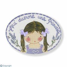 Mini placa de puerta artesanal: Niña (ref. 12130-01)