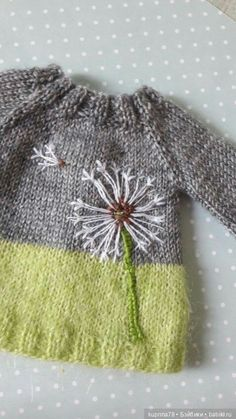 Dandelions in autumn? Why not! Embroidery on knitwear / clothes and shoes for do . - Dandelions in autumn? Why not! Embroidery on knitwear / clothes and shoes for dolls with their own - Baby Knitting Patterns, Knitting For Kids, Free Knitting, Knitting Projects, Crochet Baby, Knit Crochet, Knit Baby Sweaters, Knitwear, Embroidery