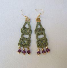 Unique elegant hunter green handwoven wax rope by creatodame
