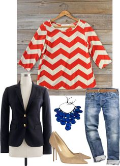 A fashion look from February 2013 featuring lace top, j crew jacket and blue jeans. Browse and shop related looks. Coral Chevron, J Crew Jacket, Manolo Blahnik, Nine West, Jimmy Choo, Blue Jeans, Steve Madden, Christian Louboutin, Fashion Looks