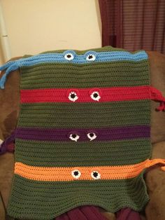 Mutant Ninja Turtle inspired Toddler Blanket. 3ftx3ft roughly. Lol. My son loves it. He takes it everywhere now. Lol.