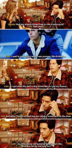 Riverdale cast - Cole Sprouse - in which we learn that Cole Sprouse finally got to live out his dream of riding a motorcycle on tv now that Jughead is a Serpent. And that he frequently talks to his 11 year old Disney self