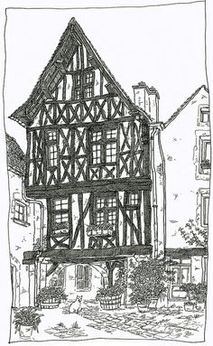 France, Burgundy, Noyers-sur-Serein Colouring Pages, Coloring, Building Sketch, Background Drawing, Urban Sketchers, Architecture Drawings, World Of Color, Architectural Elements, Countries Of The World