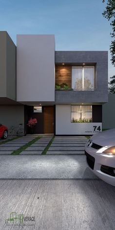 Pin on house House Outer Design, Modern Small House Design, Bungalow House Design, Minimalist House Design, House Front Design, Modern Bungalow, Small House Exteriors, Modern House Facades, Modern Exterior House Designs