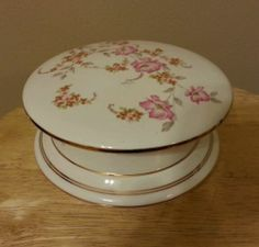 TRINKET BOX PINK FLOWERS WITH 24K GOLD TRIM FROM JAPAN