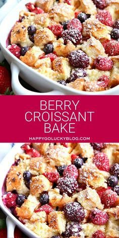 This Berry Croissant Bake combines buttery croissants, cream cheese, eggs, and berries to create the most delicious breakfast bake. Prepare it the night before and just pop it in the oven for an easy overnight breakfast dish everyone will love! Cream Cheese Breakfast, Savory Breakfast, Breakfast Bake, Breakfast Dishes, Best Breakfast, Croissant Breakfast Casserole, Breakfast Sandwiches, Breakfast Ideas, Mexican Breakfast Recipes