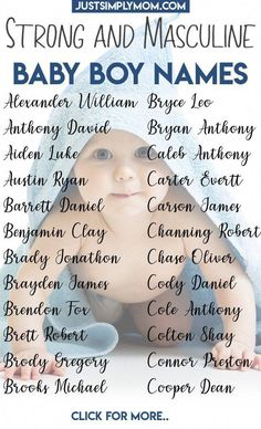 Boy Mom Discover 66 Strong Boy First and Middle Names for 2020 - Just Simply Mom Picking a name for your baby can be a tough decision. Here is a list of strong and masculine boy first and middle names and tips to help you decide. Unisex Baby Names, Cute Baby Names, Baby Girl Names, Middle Names For Boys, Unique Baby Boy Names, Juegos Baby Shower Niño, Shower Baby, Baby Showers, Southern Baby Names