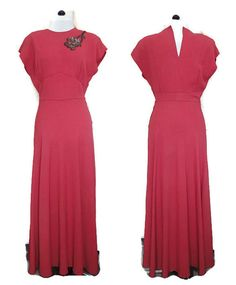 1940s Dusky Rose Evening Dress with Sequin by willynillyvintage
