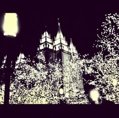 Salt lake temple lights. So lucky I live here. (: