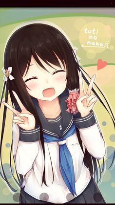 Kawaii Anime Girl Peace Sign Wwwpicturessocom