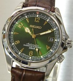 The Alpinist models have a compass like bezel. Great for the outdoorsy type who love trekking. Automatic movement with Cal The large Arabic numerals ensure maximum visibility in any Best Watches For Men, Cool Watches, Dream Watches, Fossil Watches, Seiko Watches, Seiko Alpinist, Digital Sports Watch, Tactical Watch, Seiko Presage