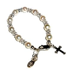 Sterling Silver Baby Baptism Cultured Pearl Bracelet with Cross (0-12 months) *** Click on the image for additional details.