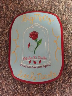 Big little sorority plaque paddle. Beauty and the beast. Disney. Painted. Crafted. DIY. Red. Gold. Blue. Pink. Til the last petal falls