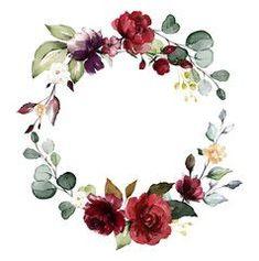 Floral Wreath Watercolor, Watercolor Rose, Watercolor Illustration, Watercolor Invitations, Purple Roses, Rose Flowers, Floral Border, Flower Frame, Invitation Design