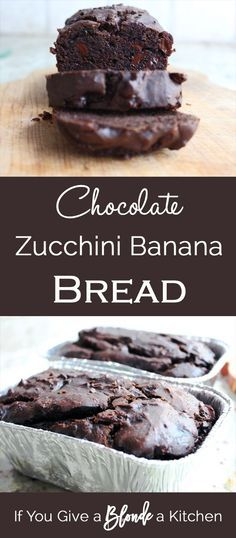 Chocolate Zucchini Banana Bread is healthy and packed with nutrients and flavor. Chocolate chips add some extra sweetness while chocolate protein powder adds protein! | Recipe by /haleydwilliams/