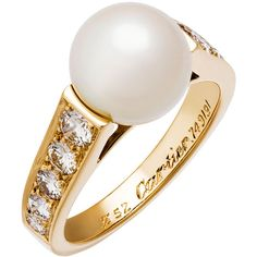 Cartier Estate 18k Freshwater Pearl & Diamond Ring ($4,295) ❤ liked on Polyvore featuring jewelry, rings, diamond jewellery, white diamond ring, cultured pearl jewelry, fresh water pearl ring and 18k ring