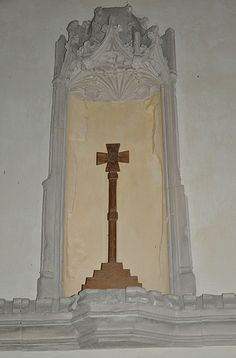 Cold Aston St Andrew East wall of chancel, remains of 14th century reredos-91