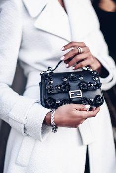 bag tumblr embellished embellished bag fendi mini bag black bag silver silver ring bracelets silver bracelet nail polish nails coat white coat