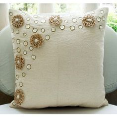 Jute Flowers - Throw Pillow Covers - Inches Jute Cotton Pillow Cover with Mother of Pearl from TheHomeCentric on Etsy. Saved to bedding/pillows. Beige Pillow Covers, Beige Pillows, Floral Pillows, Diy Pillows, Throw Pillow Cases, Toss Pillows, Cushion Covers, Decorative Throw Pillows, Cushions