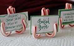Three mini candy canes tied together to make mini easels.