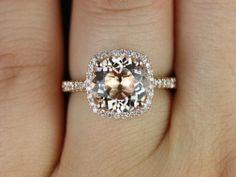 Barra Princess Size 14kt Rose Gold Thin Morganite Cushion Halo Engagement Ring. $1195
