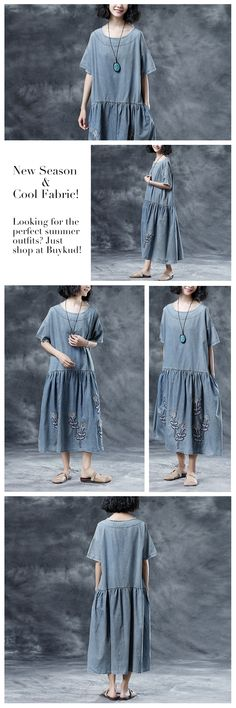 Casual Embroidery Loose Summer Short Sleeve Blue Dress