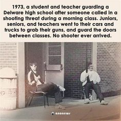 A pro-gun rights meme gets some facts right, but it misrepresents the truth behind an old high school yearbook photograph. Pro Gun, Down South, God Bless America, Faith In Humanity, My Tumblr, Before Us, Signs, American History, Fun Facts