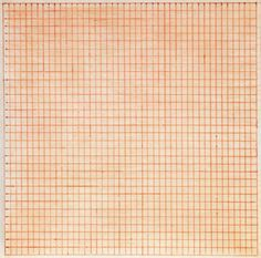 "Agnes Martin, ""Untitled,"" 1963. Red ink on paper, 8 1/4 x 8 1/4 in."