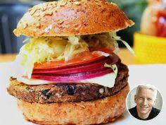A black bean burger with vegan cheese