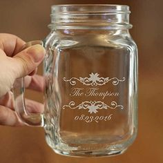 Personalized Mason Jars Drinking Mugs with Handle Custom Jar with Name and Date for Wedding Engagement Anniversary Bridal Party Gift of Favor for Newlyweds Couple 16 OZ -- Check this awesome product by going to the link at the image.