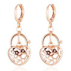 18K Gold Glavanized Zircon Earrings rose golden