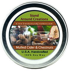 Premium 100 All Natural Soy Wax Aromatherapy Candle  2oz Tin Mulled Cider and Chestnuts Warm and comforting our Mulled Cider and Chestnuts puts a twist on the classic fall and winter scents of spiced cider and roasted chestnuts This highly scented fragrance begins with spicy orange nutmeg and clove notes blended perfectly with rich nutty undertones of vanilla and caramel ** Be sure to check out this awesome product.