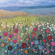 Art Mixed Media Canvas - Button Meadow button art on canvas - by Jo Grundy. This is so amazing an inspiring I can't even stand it!button art on canvas - by Jo Grundy. This is so amazing an inspiring I can't even stand it! Mixed Media Canvas, Mixed Media Art, Button Art On Canvas, Buttons On Canvas, 3d Canvas Art, Painted Canvas, Button Picture, Art Textile, Landscape Quilts