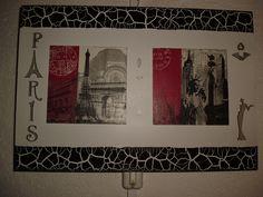 Cuadro en decoupage con marco craquelado y decorado con apliques de fibra de madera