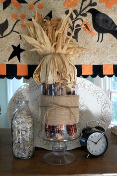 Dried Corn & Burlap Centerpiece