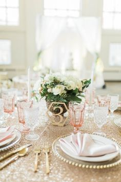 Gold geometric table number with a gold sequin linen for a Cincinnati wedding | KMC Weddings & Events