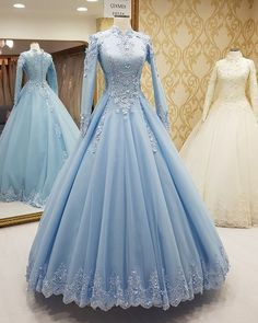 Light Blue Formal Occasion Dress with Long Sleeves