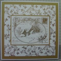 Stampendous Christmas postcard stamp gold embossed and Chloe Endean holly swirl stamp gold embossed for background